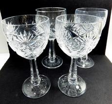 VTG set of 4 American Brilliant Cut Crystal Cocktail Glasses Stemware Go... - $29.45