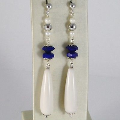 925 STERLING SILVER PENDANT EARRINGS WITH BIG WHITE DROP, LAPIS LAZULI AND PEARL