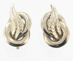Vintage 1950's Alice Caviness  Silver Feather Screw Back Earrings Pretty! - $26.99
