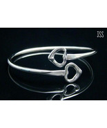 2 Hollow Hearts Bangle Bracelet Sterling Silver - $21.98