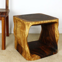 Natural Cube Wood End Table 16x16x16 inch Ht w Eco Friendly Livos Walnut... - $164.88