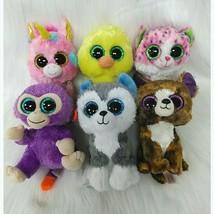 "Lot of 6 Ty Beanie Boos Plush Toy 6"" Nugget Slush Dexter Fantasia Sophie Grapes - $16.99"