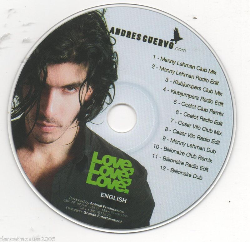 Andres Cuervo Love Love Love 12 Track Promo CD Remixes Manny Lehman, Klubjumpers