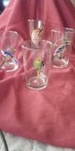 Set of 4 Vintage hand painted exotic bird glasses. Malaysian KIG. Mint c... - $27.00