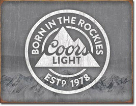 Coors Light Born in the Rockies Est. 1978 Beer Vintage Style Alcohol Met... - $20.95