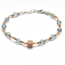 SILVER 925 BRACELET LAMINATED GOLD PINK WITH AQUAMARINE AND ZIRCONIA CUBIC - $92.19