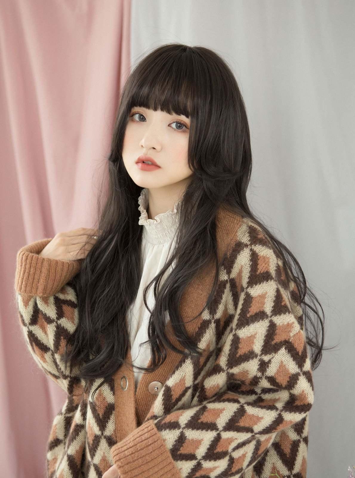 Raven Black Wavy Long Wig Girly japanese cosplay lolita ...