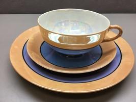Vintage Hand Painted Japan Pearlescent Glaze Tea Trio Peach Blue Black Trim - $49.49