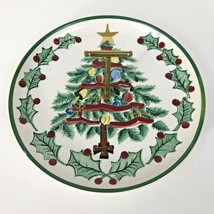 1956 Lefton Christmas Tree Plate T Handle Candy Cookie Appetizer Vintage - $12.82