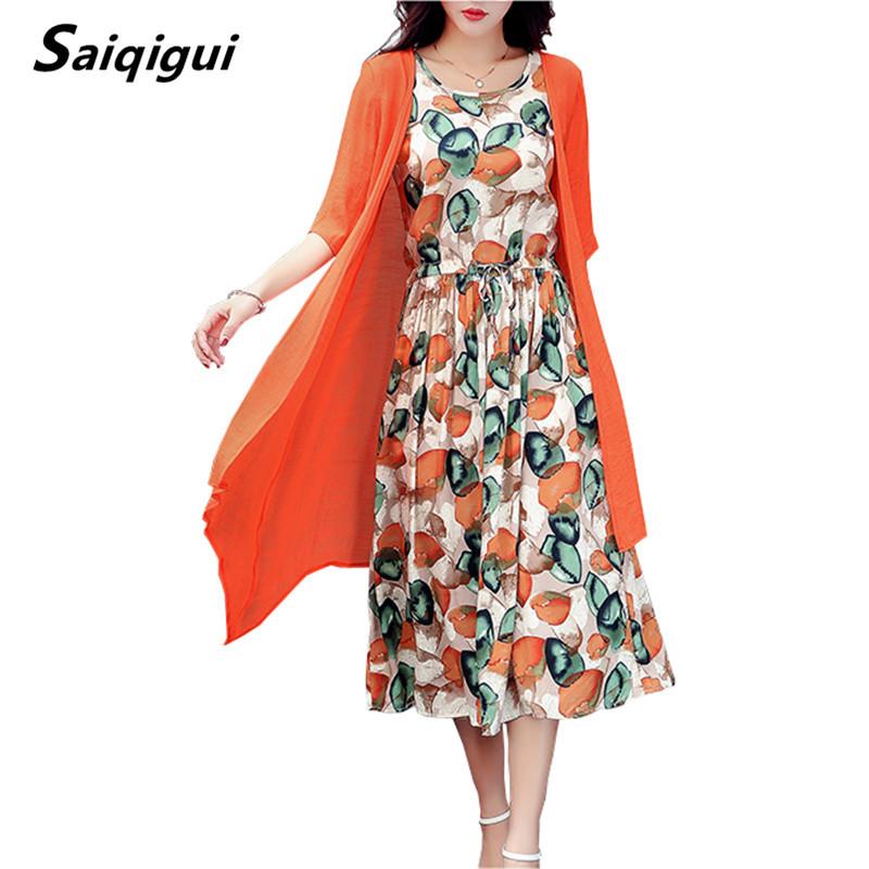 Saiqigui  Summer dress women dress casual Loose tow piece Cotton Line dress Prin