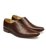 MEN HANDMADE LEATHER SHOES, BROWN DRESS SHOES MEN'S - $189.99