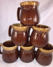 6 Brown Ribbed Drip Glaze Mug Vintage EUC Farmhouse Rustic Cottage FALL - $27.50