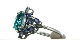 Ladies Size 7.25 Sterling Silver Blue Green Tourmaline Ring No. 2155 image 2