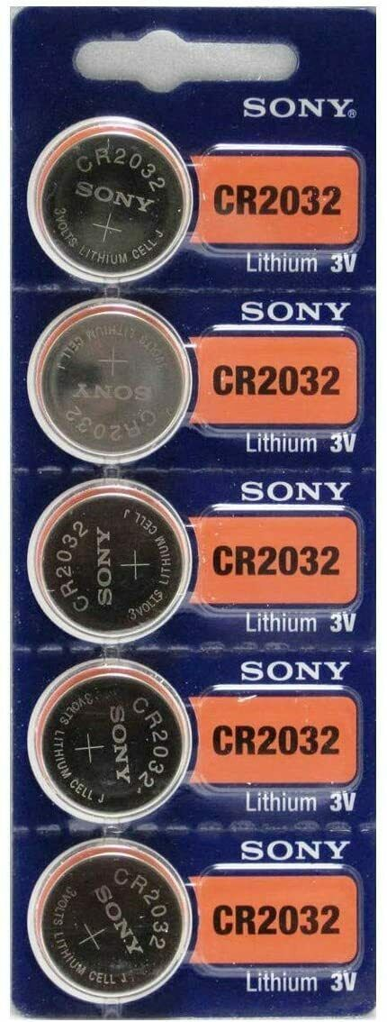 5 Sony CR2032, 3V Lithium Coin Batteries,  Button Cells.