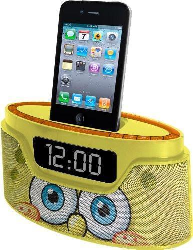 Nickelodeon Spongebob Squarepants  ALARM CLOCK RADIO Iphone  IPOD Dock & Charger