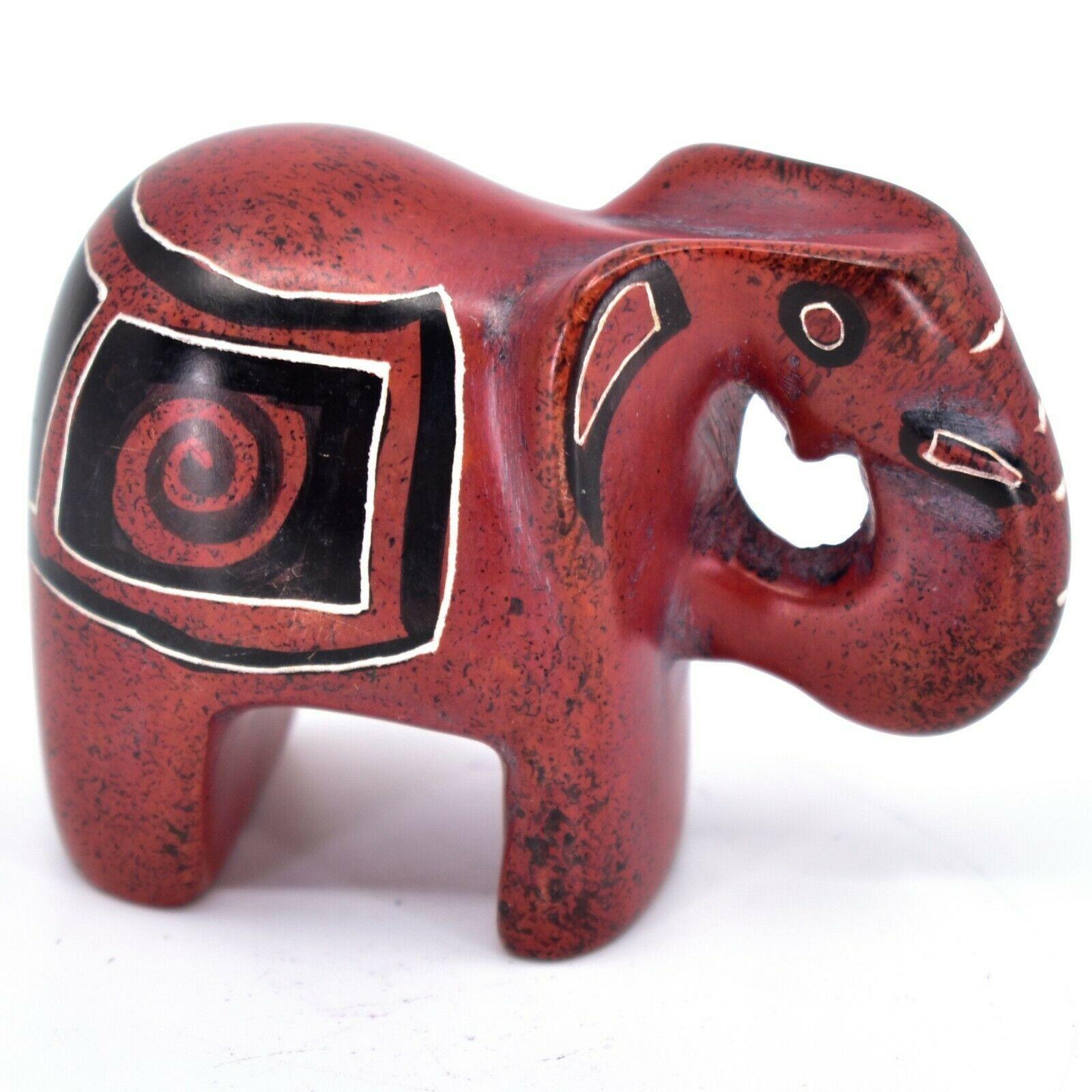 Crafts Caravan Hand Carved Red & Black Soapstone Elephant Figurine Made in Kenya