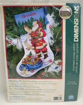 """NEW Dimensions Counted Cross Stitch 8645 Stocking Kit Checking His List 16""""L - $18.92"""