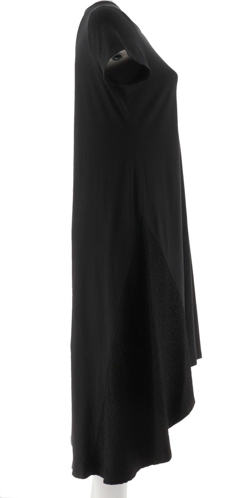 H Halston Scoop Neck Short Slv Maxi Dress Hi-Low Hem Lace Black S NEW A291517