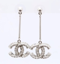 100% AUTH CHANEL 2017 LARGE CC DANGLE DROP CRYSTAL EARRINGS STRASS LIMITED EDT