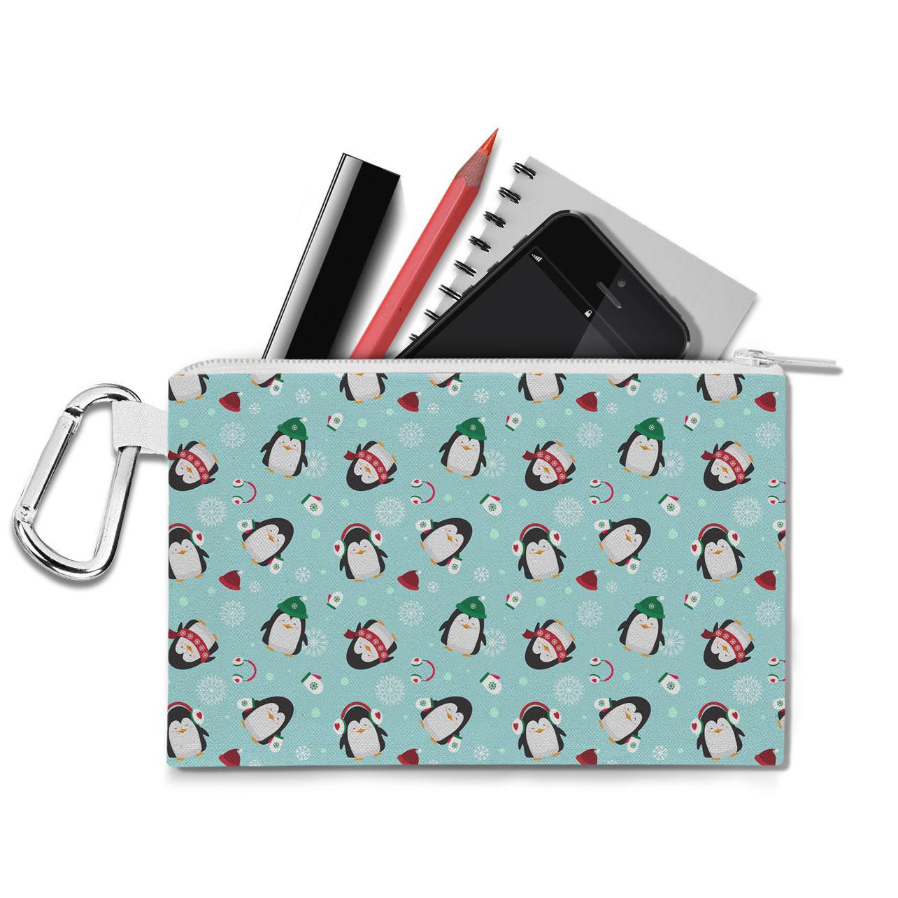 Cute Penguins Canvas Zip Pouch