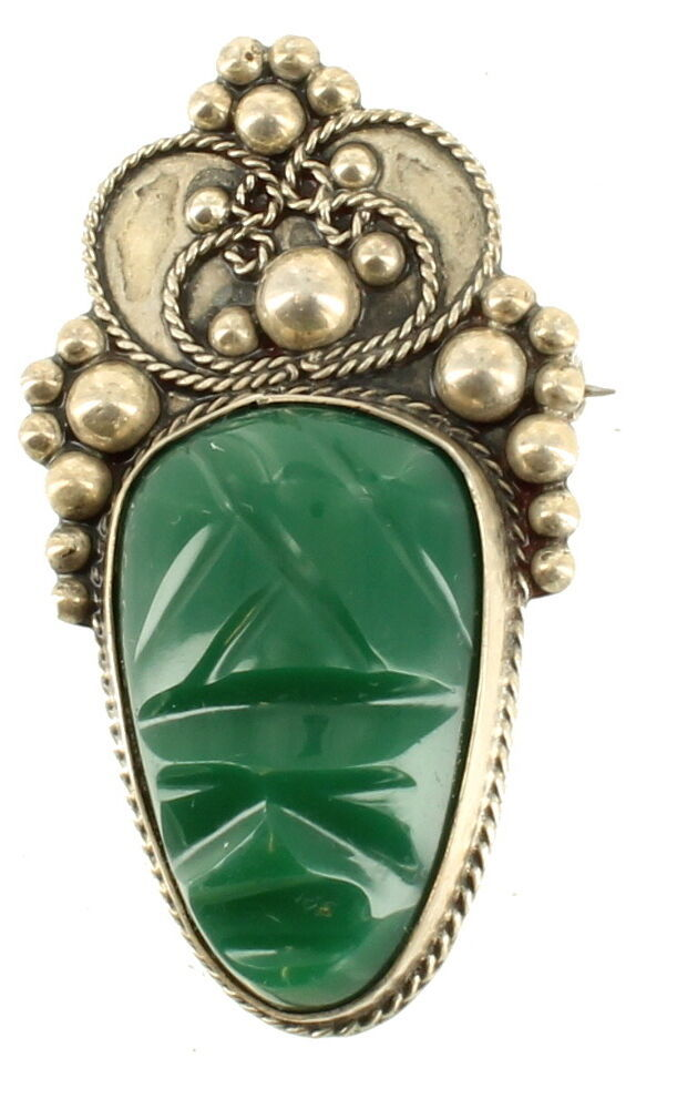 Primary image for Vintage Sterling Mexico Green Agate Face Pin Balls Design Mid-Century 2 ""
