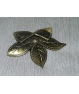 Old Vintage Etched Brass or Antique Goldtone Folded Leaf Shoe Clip – onl... - $7.69