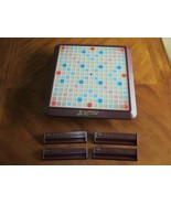 2001 Scrabble Deluxe Turntable Replacement Rotating Board & 4 Tile Racks... - $24.99