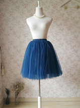 Navy Midi Tulle Skirt Women Girl Tulle Tutu Skirts with Bow Plus Size image 5
