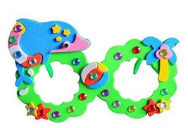 Set of 3 EVA Sticker Easy Crafts for Kids DIY Colorful Glasses(Cute Dolphin)