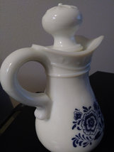 Vintage Avon White Milk Glass Pitcher/Decanter with Stopper Floral Design Pitche image 2