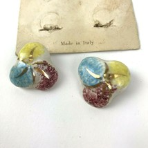 Vtg Ceramic Clip Style Earrings Made In Florenco Italy   - $15.83