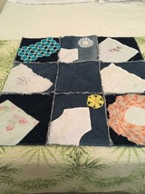 Handmade denim and Fleece rag lap quilt With Vintage Handkerchiefs/doilies - $45.00