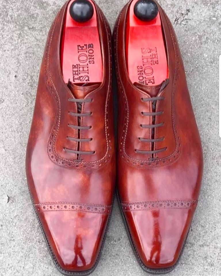Handmade Men's Burgundy Leather Two Tone Brogues Dress/Formal Oxford Leather Sho