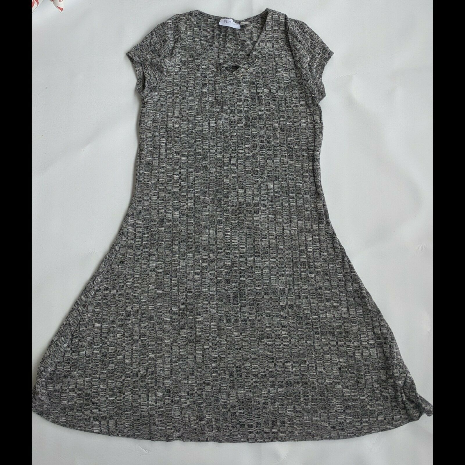 Primary image for Black White Knit Sweater Dress Girls Size 16 XXL Childrens Place Short Sleeve