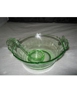 "L E Smith ""Mt Pleasant"" Vaseline Green, Mayonnoise Bowl,Dipper - $18.99"