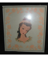 "Vtg 1940s Art Deco Lady Woman Lithograph Print Green in Frame Framed 17""... - $10.93"