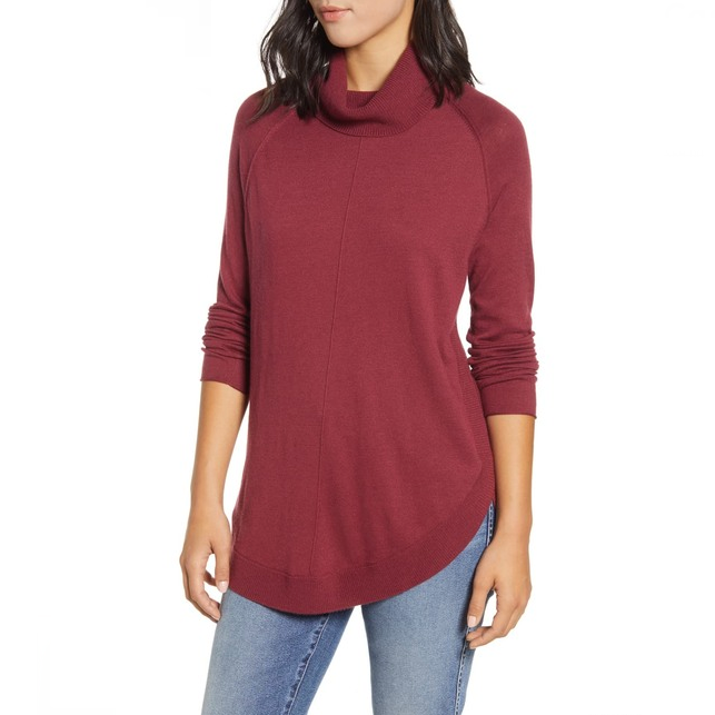 Primary image for Caslon Womens Red Long Sleeve Pullover Turtleneck Tunic Sweater New XS