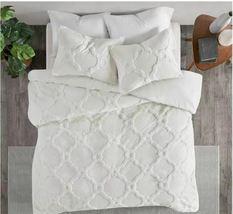 Madison Park Pacey 3 Piece Tufted Cotton Chenille Geometric Duvet Cover Set image 3