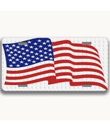 U.S.A  flag aluminum license plate car truck suv red white and blue - $16.34