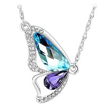 butterfly necklace silver tone  - $15.83