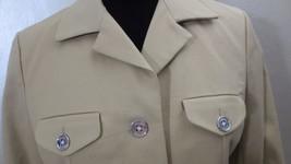Chaps Blazer Womens Medium Beige Button Down Long Sleeves Casual Top - $20.67