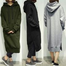 Plus Size Women Oversized Long Sleeve Casual Hooded Sweatshirt Dress Kaftan