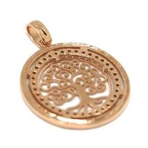Pendant Rose Gold 750 18K, Tree of Life, Frame Zircon, Perforated image 6
