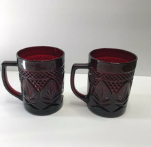 Set of Two Vintage ARCOROC FRANCE Crystal Ruby Red Mugs Cups 4 inches tall - $23.36
