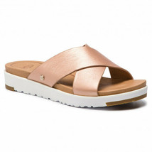 UGG Kari Metallic Slide Women La Sunset Rose Gold Leather Straps Sandals... - $149.99