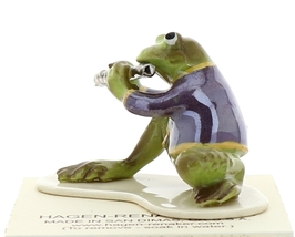 Hagen-Renaker Miniature Ceramic Frog Figurine Toadally Brass Band Flute Player image 4