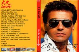 F.R.DAVID Live Performance Vol 2 Bootleg DVD Rare Hard To Find - $22.99