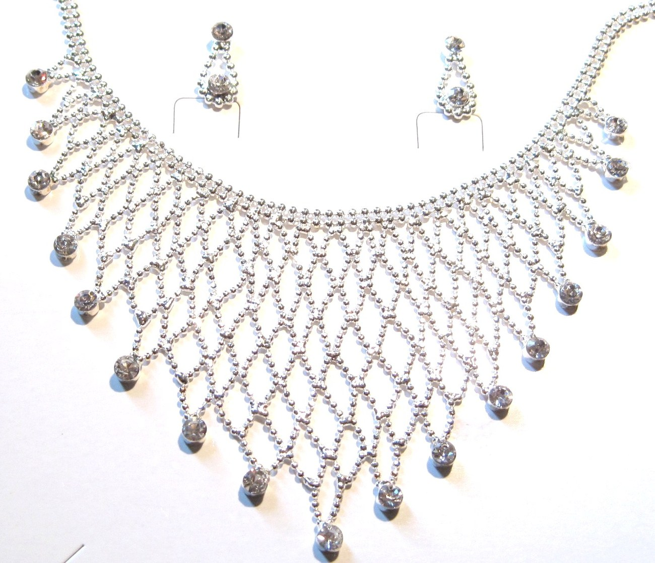 NP03 Exquisite Crystal Ball Chain Bib Necklace and Earrings Set