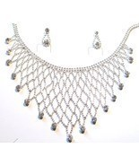 NP03 Exquisite Crystal Ball Chain Bib Necklace and Earrings Set  - $209,47 MXN
