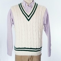 VTG Polo Ralph Lauren 100% Cashmere Cable Knit Sweater Vest Sz XL EUC - $71.97